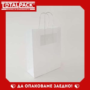 Хартиена чанта 20/25см бяла
